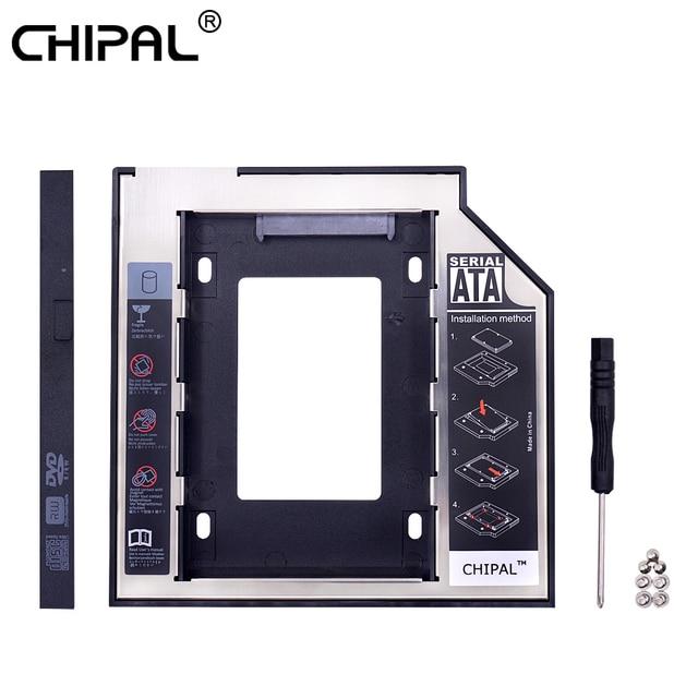 "CHIPAL 2nd HDD Caddy 9,5mm SATA a SATA para 2,5 ""2 T SSD caja de disco duro con indicador LED para el ordenador portátil CD-ROM DVD-ROM"