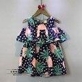 2016 девушки летнее платье мода точка ананас жилет платье детской одежды