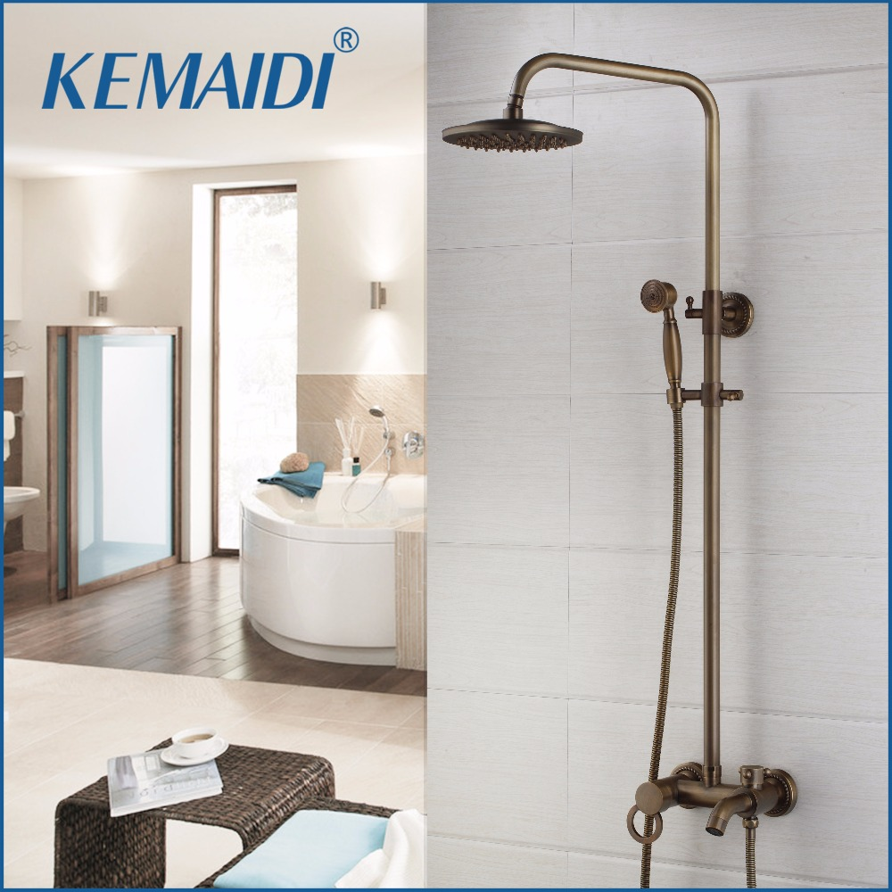 KEMAIDI New Arrival Antique Brass Shower Faucet Set 8 Inch Shower Head Hand Shower Sprayer Wall