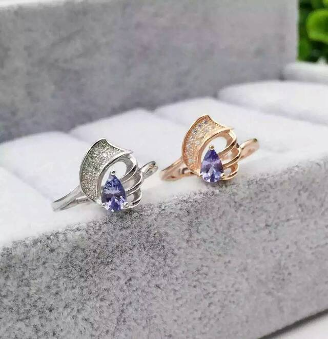 Natural blue tanzanite Ring Natural gemstone ring 925 sterling silver trendy Lovely conch womens girl gift fine Jewelry