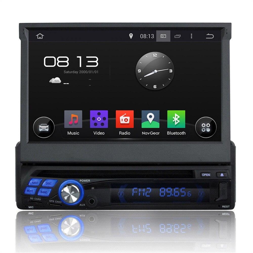 Универсальный 4 ядра Процессор Android 5.1.1 1 DIN стерео емкостный Экран GPS Радио DVD мультимедиа плеер