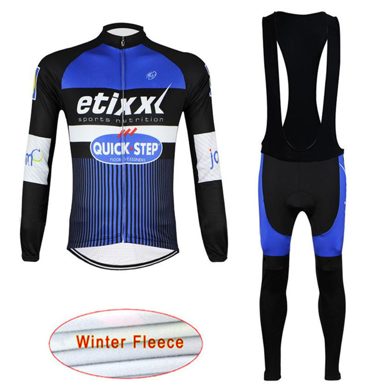 Quick step Winter Thermal Fleece Cycling Jersey Long Sleeve Set Maillot Ropa Ciclismo Uniformes Bike Clothing 16D GEL Pad PantsQuick step Winter Thermal Fleece Cycling Jersey Long Sleeve Set Maillot Ropa Ciclismo Uniformes Bike Clothing 16D GEL Pad Pants