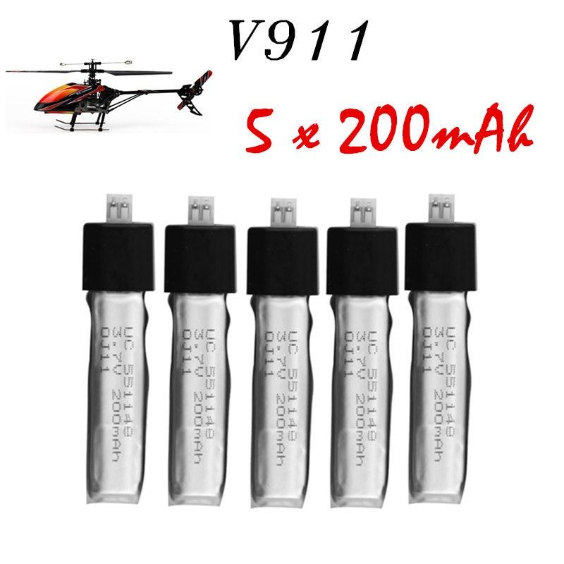 5pcs Wltoys V911 RC Helicopter brushless motor Accessories Bag KV911-0005 F929 F939 BATTERY (5Pcs 3.7V 200mAh Lithium Batteries) high quality 5 x new wltoys v911 rc helicopter parts 200mah 3 7v li poly battery toys wholesale