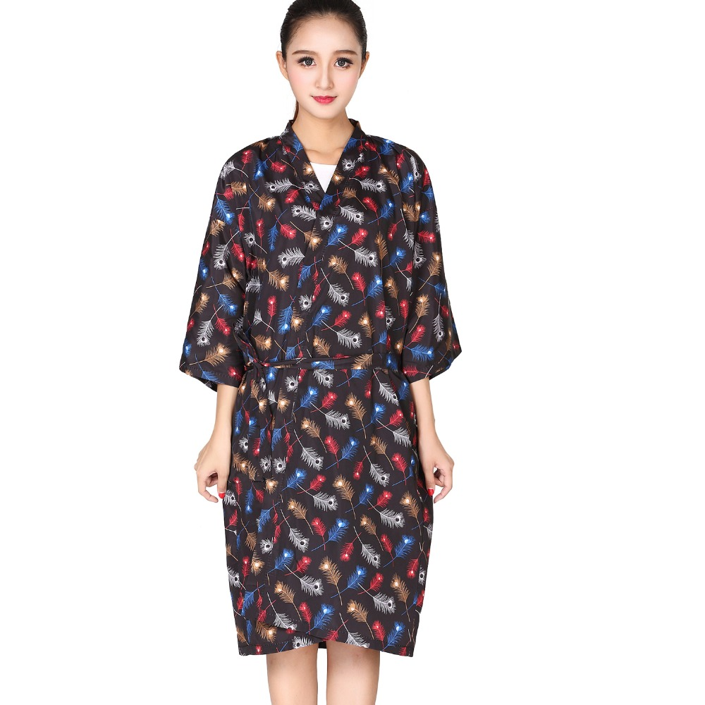 Feather Dressing Gown: Salon Client Gown Robe Feather Printing Smock Kimono