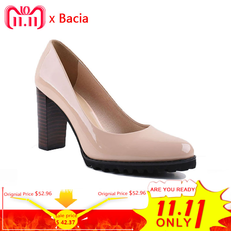 Bacia Square Heel pumps Genuine Leather Shoes For Women Luxury Quality Heels Round Toe Slip On Bridal Shoes Russian Size VA003 bacia casual shoes luxury british style leather square heels for women spring autumn high quality pumps round toe shoes vc011