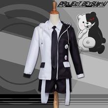 Danganronpa Momokuma Costume Cute Boy Monokuma Cosplay Outfit Animal Costume Black and White Hoodie Jacket Suspenders Shorts