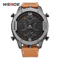 WEIDE Fashion Mens Analog Watch Three Time Zone Digital Calendar Sport Date Quartz Brown Leather Strap