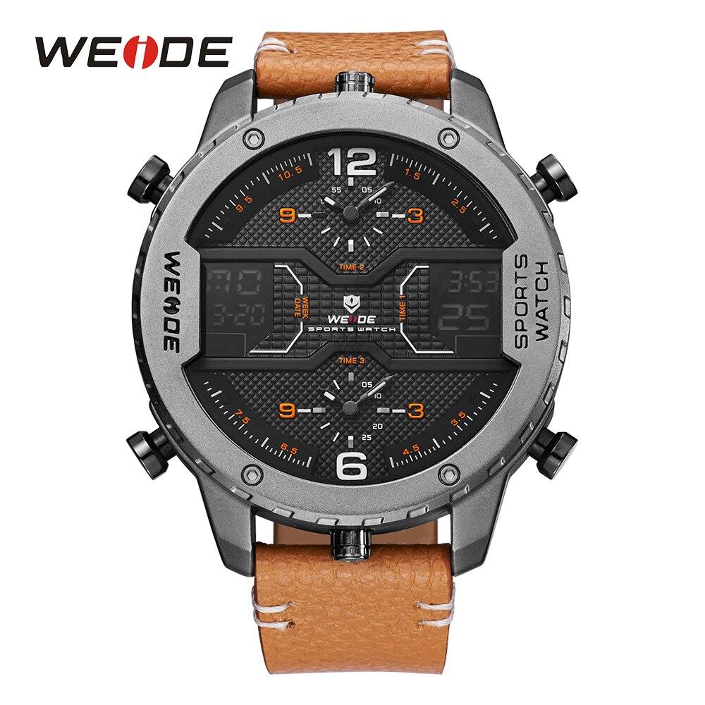 WEIDE Hommes Mâle Sport Analogique Pointeur Numérique Calendrier Quartz Brun Bracelet En Cuir montres Relogio Masculino Militaire Horloge