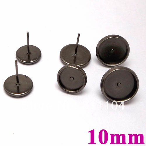 10mm Gunmetal Black tone Blank Earrings Base Circle pads Bezel Tray Stud Pins Earrings post Settings