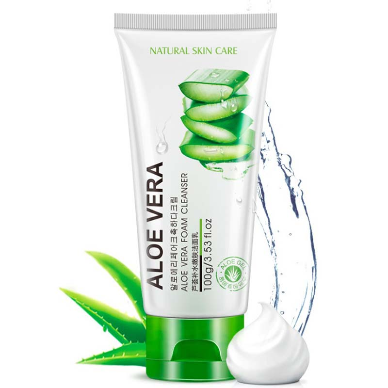 New Aloe Vera Oil control Exfoliating Facial Cleanser Plant Extract Facial Cleansing Rich Foaming Face Cleanser Moisturizing ...