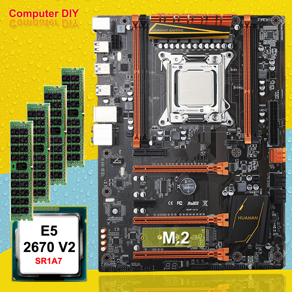 PC matériel fournir HUANAN ZHI deluxe X79 mère de jeux ensemble CPU Intel Xeon E5 2670 V2 SR1A7 2.5 ghz RAM 16g (4*4g) DDR3 RECC