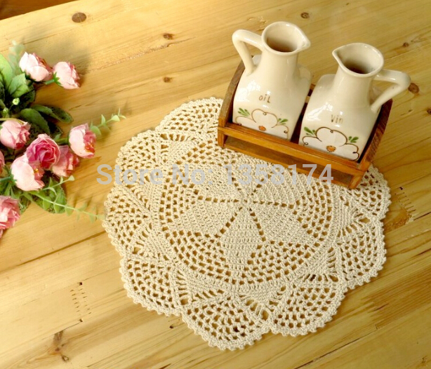 PD036 Free shipping Handmade Crochet Coaster 30cm Round flower Lace Doilies Table Place mats cup mat 24pcs/Lot