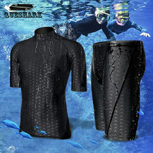 Men Short Sleeve Swim Shirt+Shorts Wetsuit Set Rashguard Swimming Suit Snorkeling Men Surfing Swimsuit Diving Wet Suit Top Trunk(China)