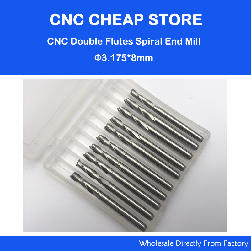 Free Ship 10pcs Solid Carbide 6mm Endmill Double Two Flute Spiral Bit CNC Router Bits CED 3.175mm CEL 8mm
