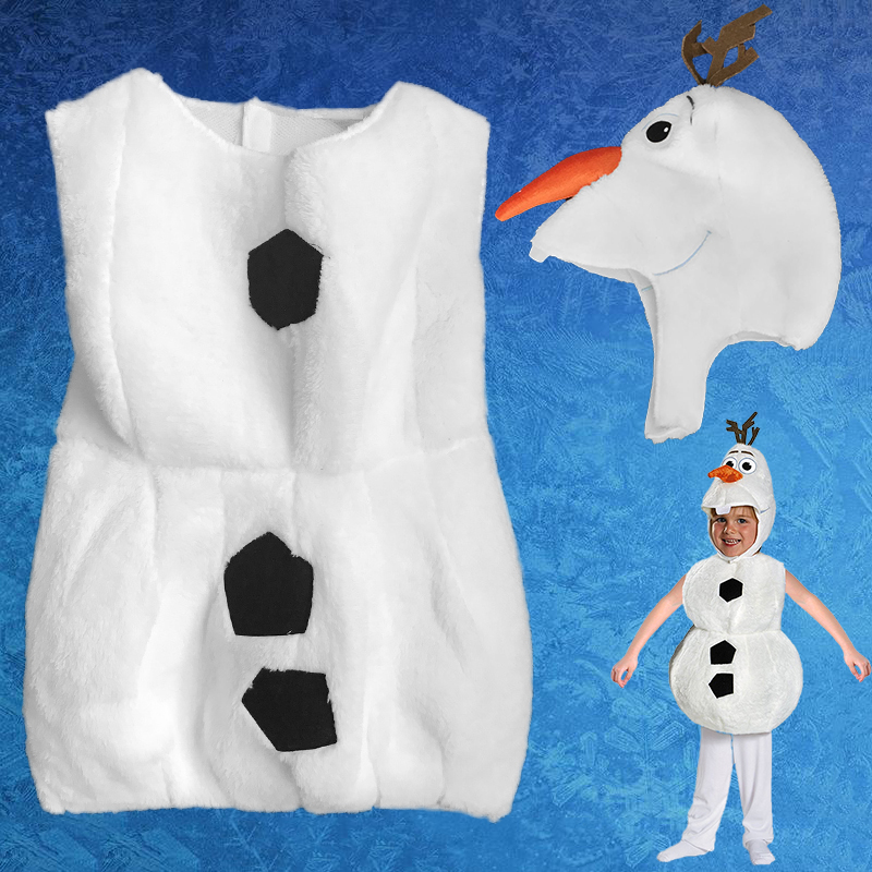 Deluxe Plush Adorable Child Halloween Olaf Costume For Toddler Kids Cartoon Movie Christmas Snowman Party Dress-up boy girl