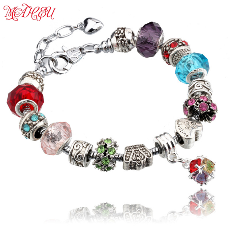 MaHeu 10 Colors Silver Bead Bracelets&Bangle With Crown&Heart Beads And Crystal Pendants For Women Wedding Valentine's Day Gift