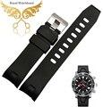 20 mm 22 mm preto à prova d ' água de borracha de Silicone Watch strap banda pulseira curvo fim Fit 2901.50.91