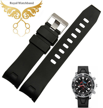 20mm 22mm Black Waterproof Silicone Rubber Watch band strap Bracelet Curved end Fit 2901.50.91