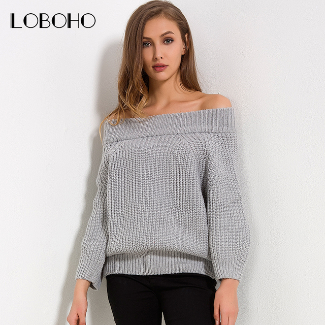 6e2abd8dcc Off Shoulder Sweater Women Jumper 2018 Autumn Winter Knitted Sweater Long  Sleeve Slash Neck Thick Casual