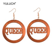 Pendant Earrings Letter-Queen Wooden African Ethnic Girls Women Big YULUCH for Lady Round