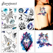 1pc DIY Body Art Temporary Tattoo KM-083 Lukisan Misterius berwarna-warni Kuda Rama-rama Decal Waterproof Tattoo Sticker Watercolor