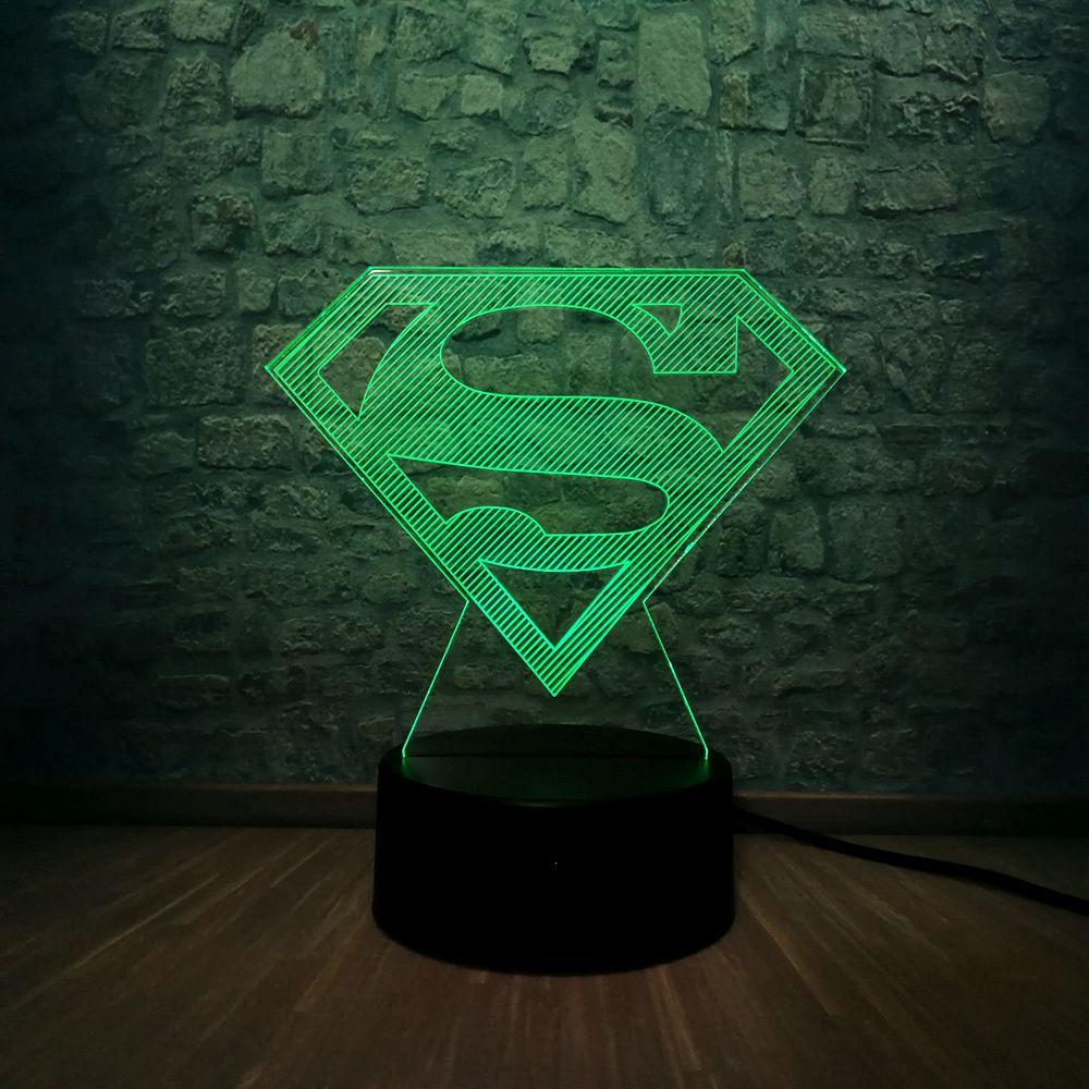 US $7.93 35% OFF|2019 3D LED Lamp DC Superman Logo Symbol 7 Color Change  Bedroom Decor Table Night Light Children Gift Toys USB Base Switch-in LED  ...