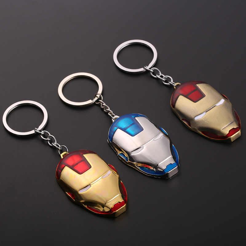 מתכת מארוול נוקמי קפטן אמריקה חומת Keychain איש עכביש איש ברזל מסכת Keychain צעצועי האלק באטמן Keyring מפתח מתנת צעצועים