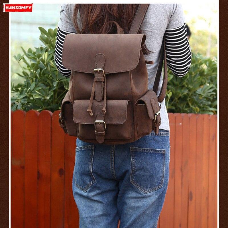 Reise Neue Braun Crazy Vintage Horse Laptop Schulter 2 Echtes Leder Freizeit Frauen Tasche Rucksäcke 1 Rucksack Weibliche r7Orqv