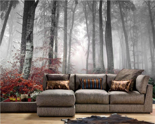 Beibehang Custom Wallpaper House Decorative Background Mural Gray Trees  Mural 3D Forest View Living Room Bedroom