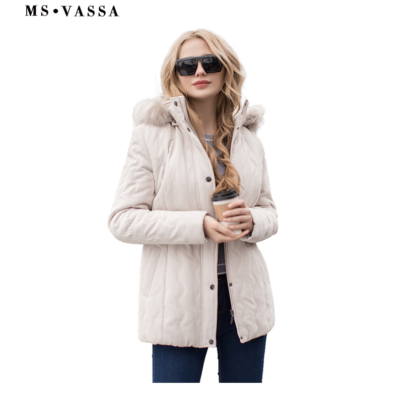 MS VASSA Ladies jacket Women micro moss quilted jacket Spring Winter turn down collar detachable hood
