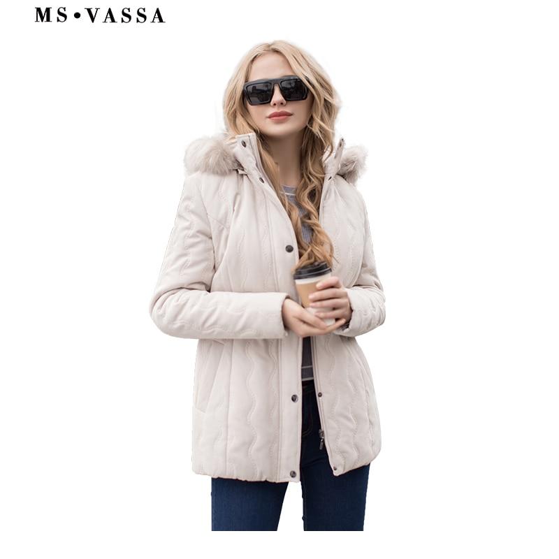 MS VASSA Chaqueta de mujer Mujer micro moss chaqueta acolchada Primavera invierno cuello desmontable capucha más el tamaño S-7XL prendas de vestir exteriores