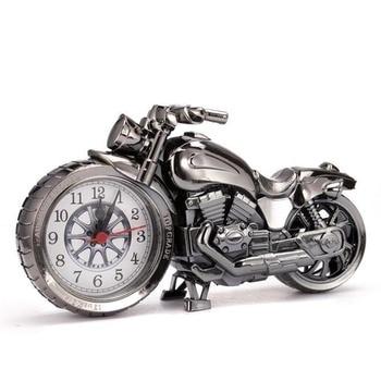 Creative Motorcycle Motorbike Pattern Alarm Clock Desk Clock Creative Home Birthday Gift Cool Clock (Wheel Type was Randomly) 1