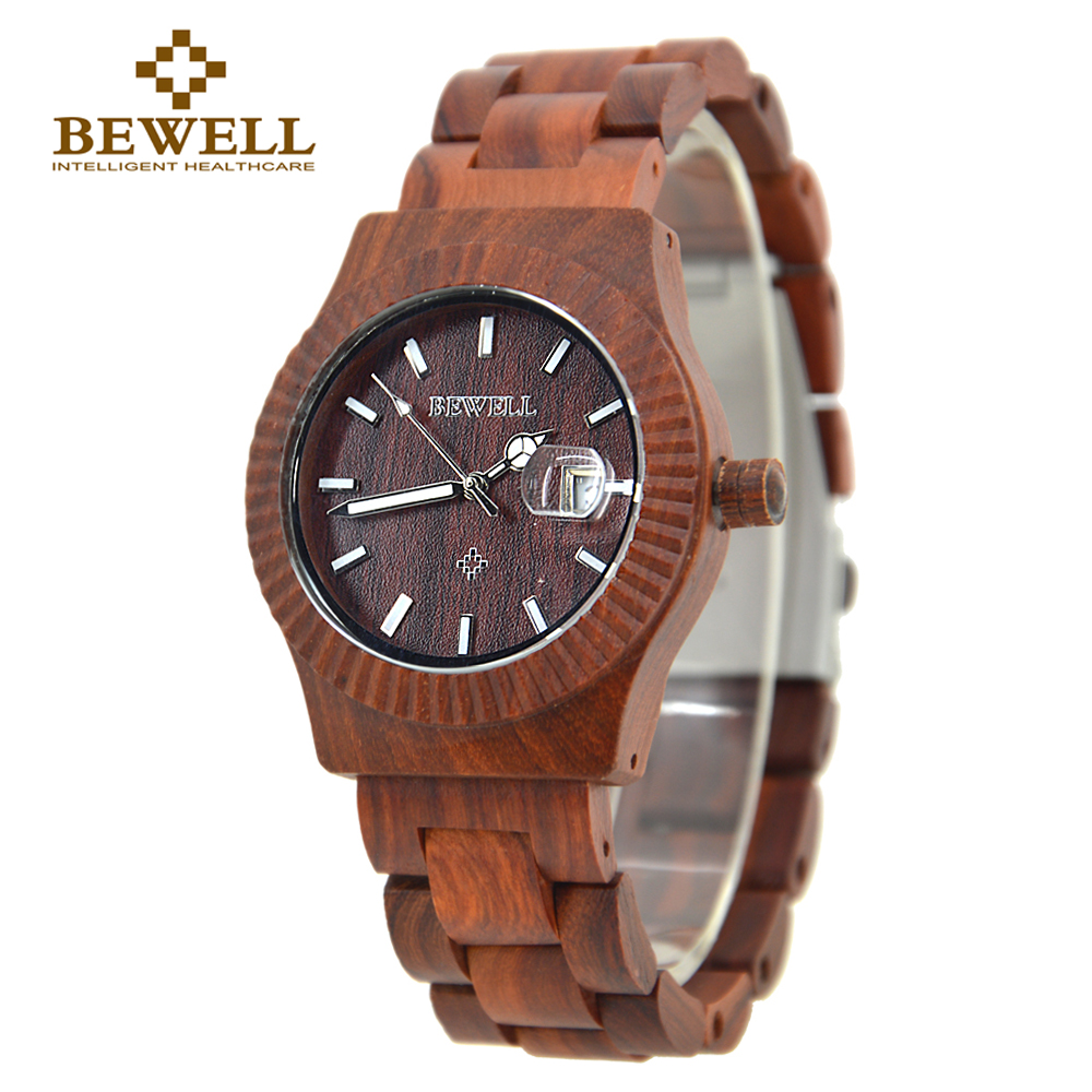 BEWELL Watch Handmade Quartz Natural-Wood Ladies Design Casual Fashion Calendar 064A
