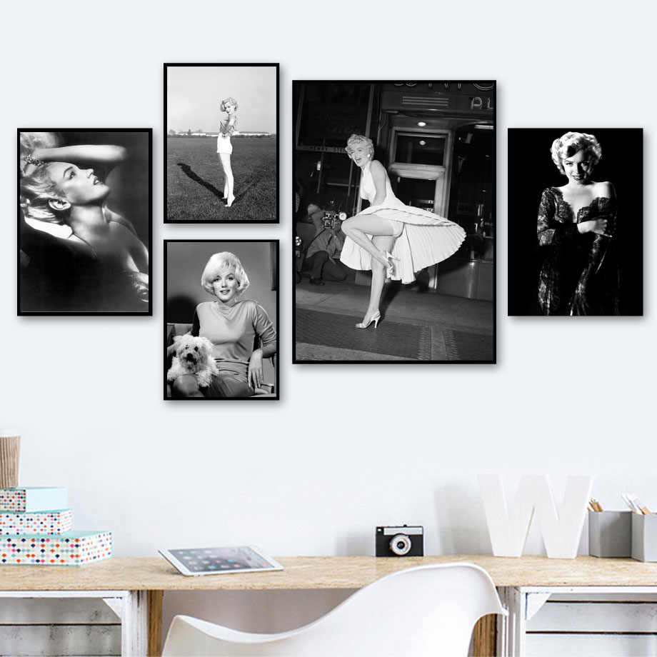 Marilyn Monroe Classic Photo Wall Art Canvas Painting Black White Nordic Posters And Prints Wall Pictures For Living Room Decor
