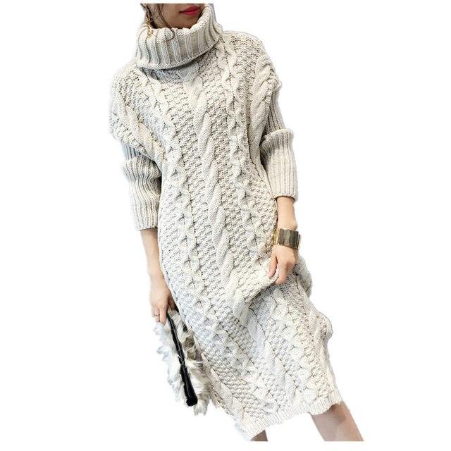 1b4756d496f Printemps Femmes Robes Pull Hiver Longs Chandails Tricoté Chaud Pull Col  Roulé Torsadé Épaississement Mince hauts
