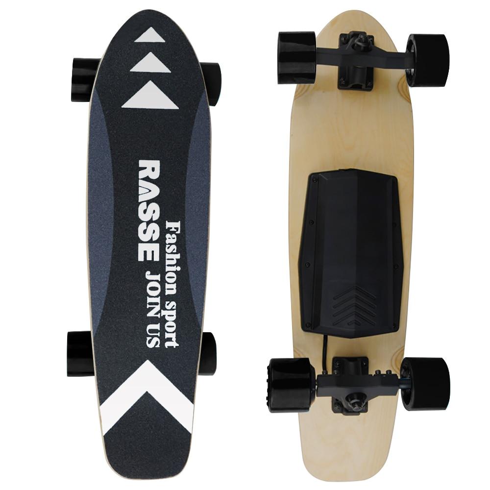 New Skateboard Four-Wheel Flatbed Skateboard Single Drive Small-Fish Version 1&2  Black Blue EU Plug7-Layer Maple Skateboar