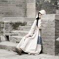 [AIGYPTOS-MIANMA] Primavera Otoño Estilo Chino Rana Botón Túnica de La Vendimia Maxi Largo Vestido de Lino Trench Coat ropa de Abrigo Sombrero de Mago