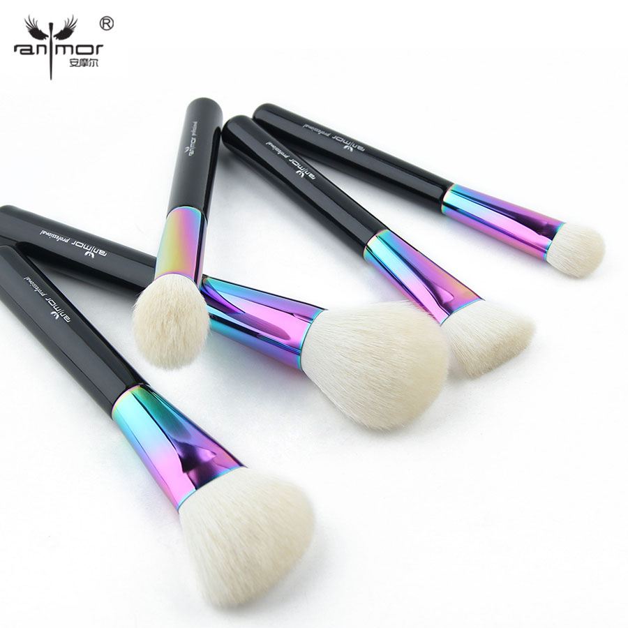 Anmor High Quality 5 Pieces Soft Makeup Brush Set Goat Hair Make Up Brushes Colorful Cosmetics Brush Kit CFCB-YF01 anmor eyelash comb brush high quality eyebrow makeup brushes for daily or professional make up