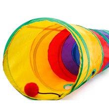 Красочные Складные портативные игрушки для домашних животных полиэфирная ткань Кольца бумажные двухходовые туннели для домашних животных 2 отверстия игровые трубки шарики игрушки для котят H0514