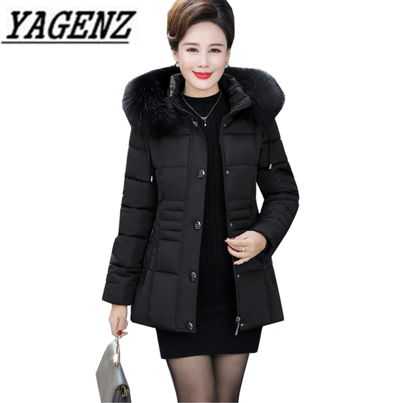 Middle-aged Mother Clothing Winter Fur collar Cotton Women Short Hooded Jacket Coat Warm   Parkas   Windproof Female Outerwear 4XL
