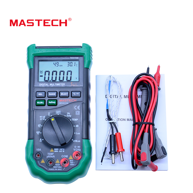 Mastech MS8229 5 in1 Auto range Digital Multimeter Multifunction Lux Sound Level Temperature Humidity Tester Meter Original pack brand new professional digital lux meter digital light meter lx1010b 100000 lux original retail package free shipping