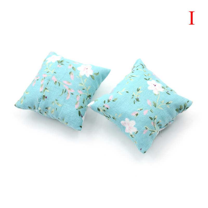 2PCS Bunga Bantalan untuk Sofa Sofa Tempat Tidur untuk Doll House 1/12 Rumah Boneka Miniatur Furniture Mainan