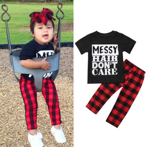 3-12 Years,SO-buts Children Kids Baby Girls Summer Casual Lovely Fashion Letter Tops T-Shirts Tee Plaid Knot Skirts Set Outfits