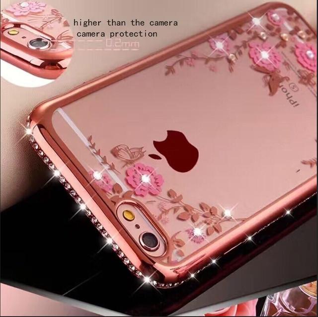 Блестящий чехол с алмазной рамкой чехол для iPhone 5 5S SE 6 6 S 7 8 plus X XS MAX XR мягкий, с бесцветным прозрачным цветочным узором со стразами