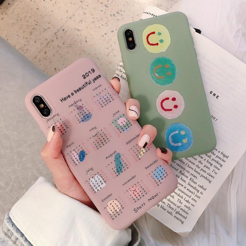 Fashion Pink Calendar Phone Case for iphone 6 6S 7 8 Plus Cartoon All-inclusive Anti-fall Soft Matte Tpu Cover XS Max XR X XS