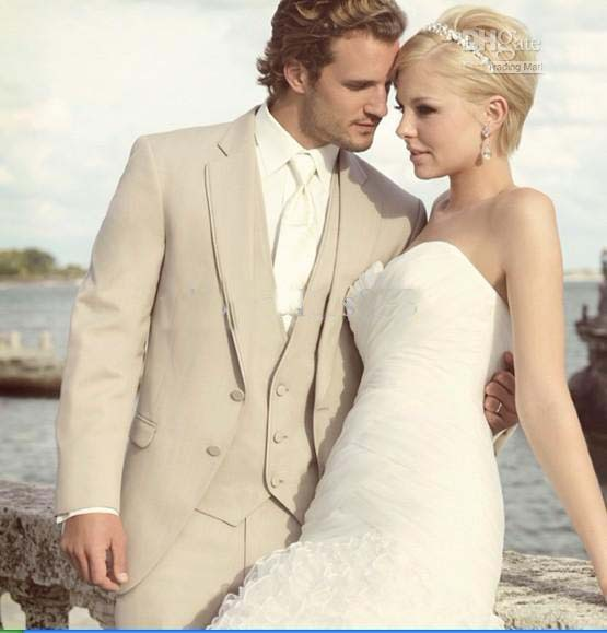 Groom dress, custom Beige suit man, Best Western wedding best man ...
