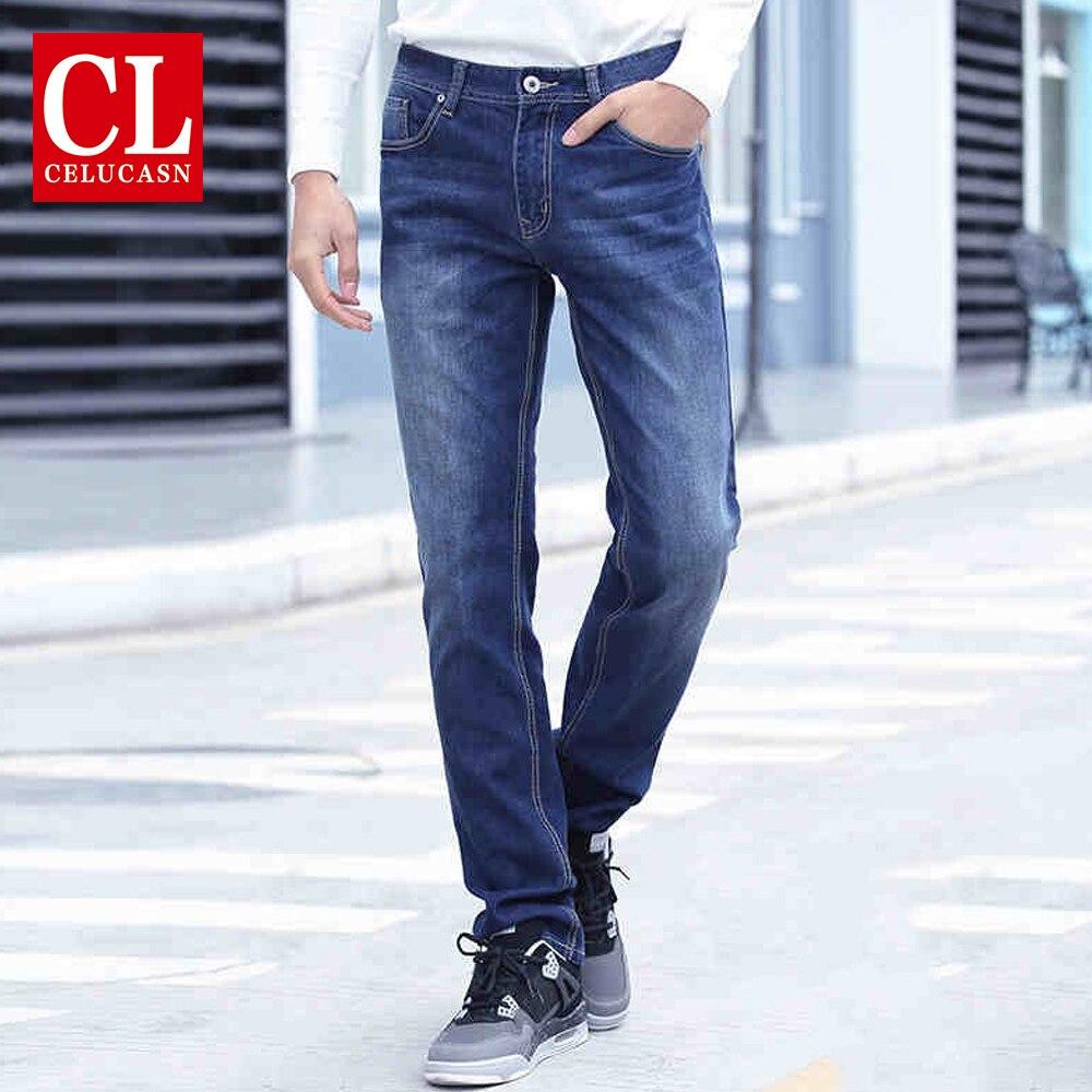 Celucasn D 2017 Autumn New Men's Slim Jeans Denim Trousers Basic Simple Style Casual Jeans Light Blue Deep Blue U6BB4609