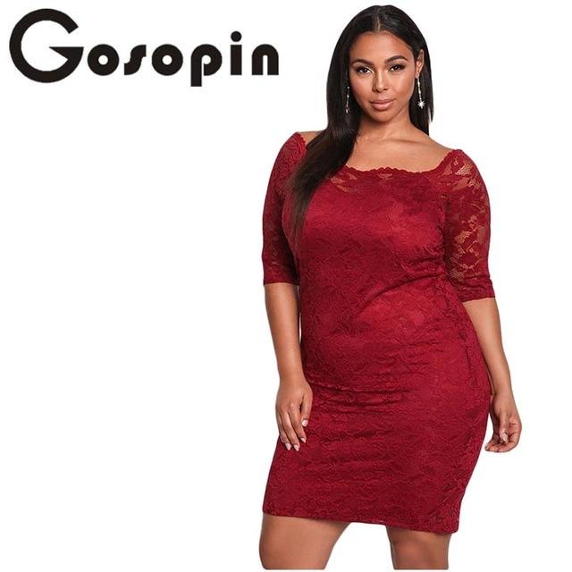 9cdae93c519 Gosopin Lace Dress Plus Size Sexy Summer Mini Party Dress Black Half Sleeve  Bodycon Elegant Women Club Dresses Vestido LC61797