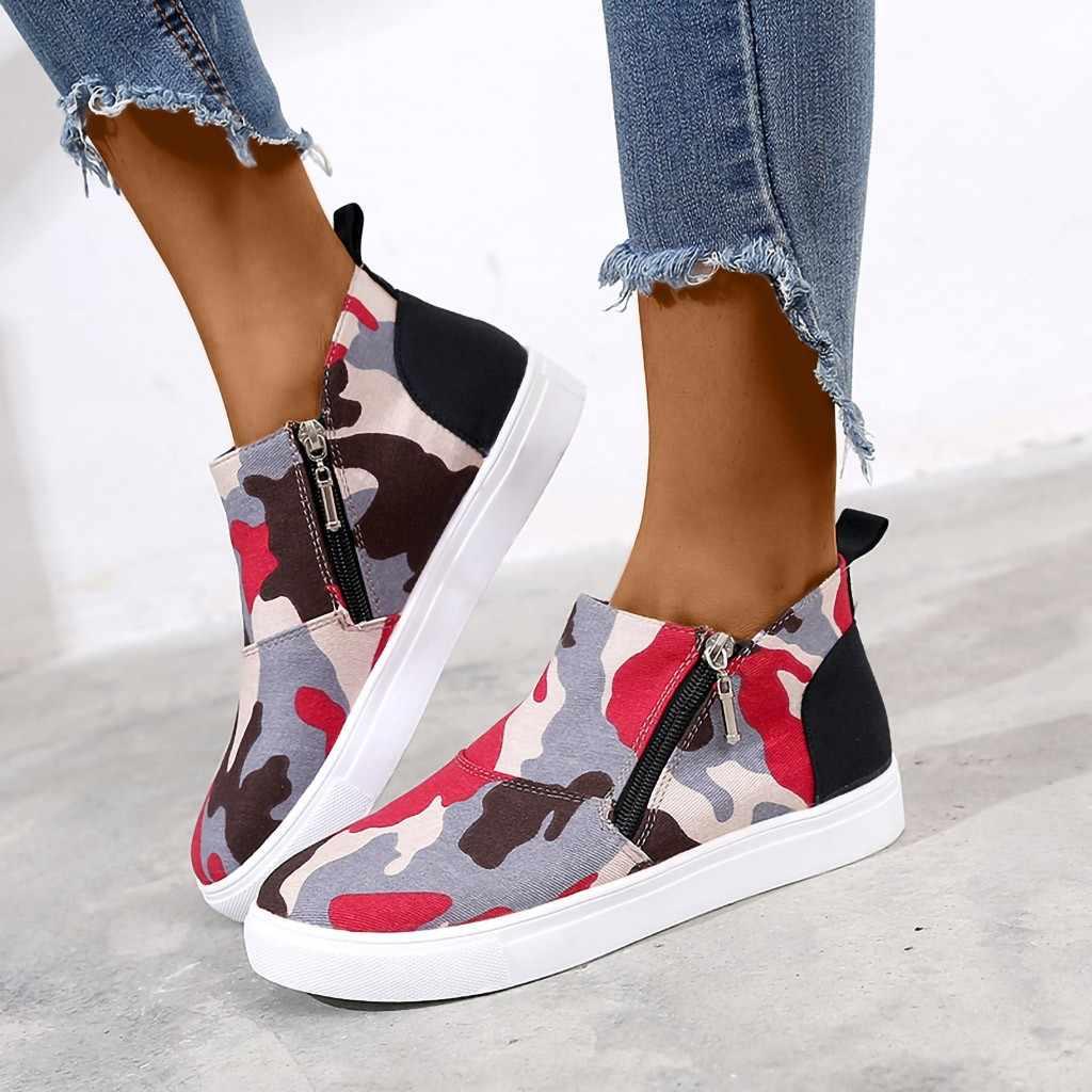 Sonbahar kadın bayanlar moda seksi ayak bileği ayakkabı kadın leopar kamuflaj düz topuk fermuar kısa çizmeler kış ayakkabı botas mujer