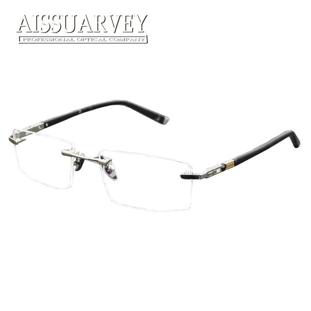 Liga De Titânio Sem Aro Armações de Óculos Óptica Óculos de Metal dos homens  Marca de c815a988db